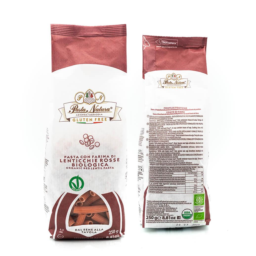 Rigatoni alle lenticchie rosse bio - Pasta Natura - Senza glutine