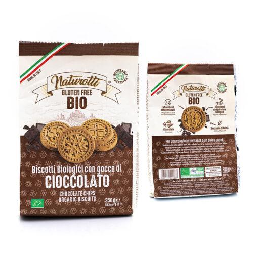 Biscotti biologici con gocce di cioccolato - Senza glutine - Naturotti