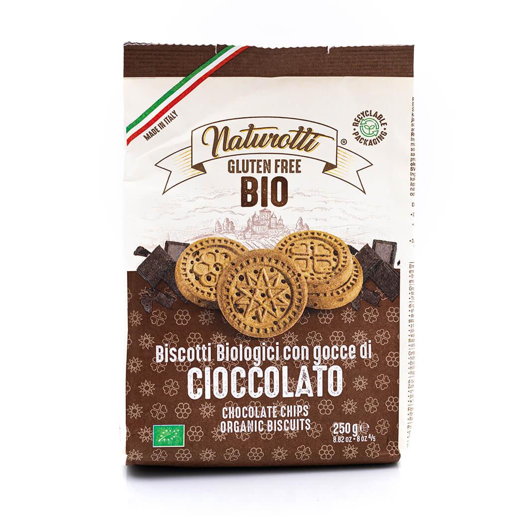 Biscotti biologici con gocce di cioccolato - Senza glutine - Naturotti Fronte
