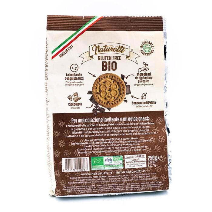 Biscotti biologici con gocce di cioccolato - Senza glutine - Naturotti Retro