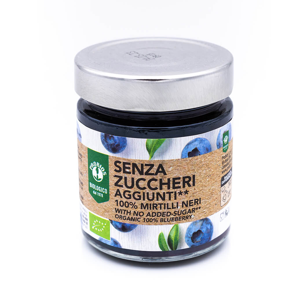 Composta biologica di mirtilli neri - Senza zuccheri - Probios Fronte