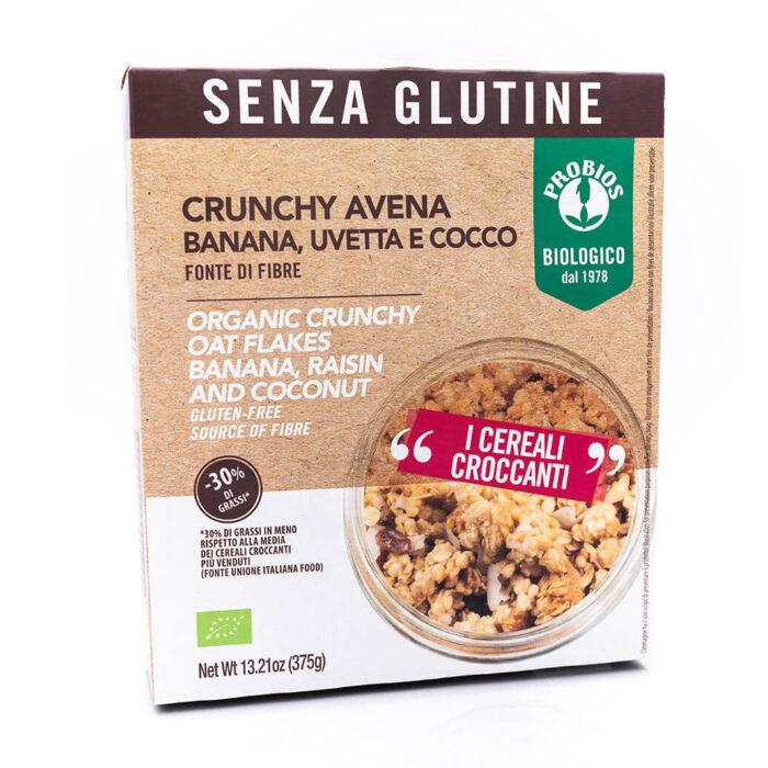 Crunchy avena con banana, uvetta e cocco - Senza glutine - Probios Fronte