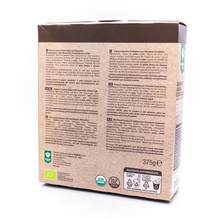 Crunchy avena e cioccolato biologici - Senza glutine - Probios Retro