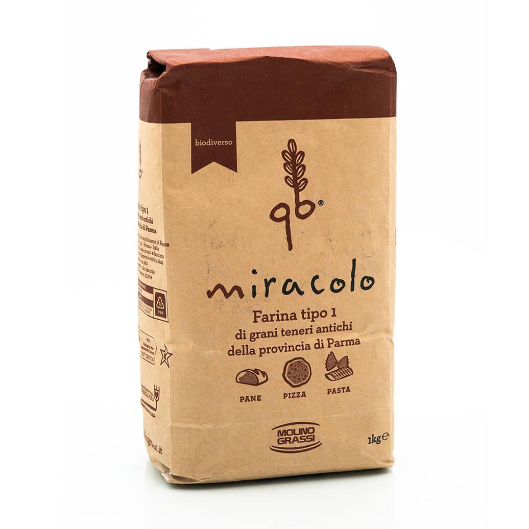 Farina di tipo 0 di grani antichi - Miracolo - Molino Grassi Fronte