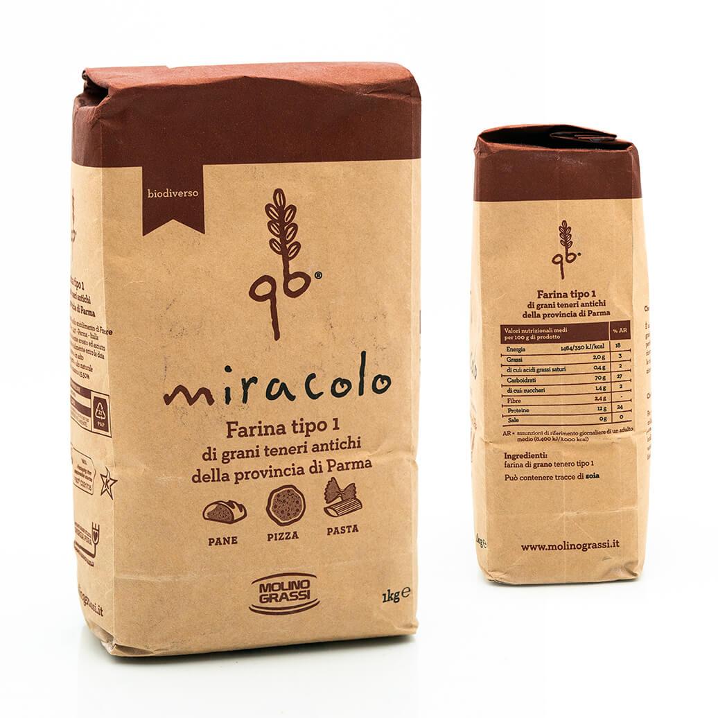 Farina di tipo 0 di grani antichi - Miracolo - Molino Grassi