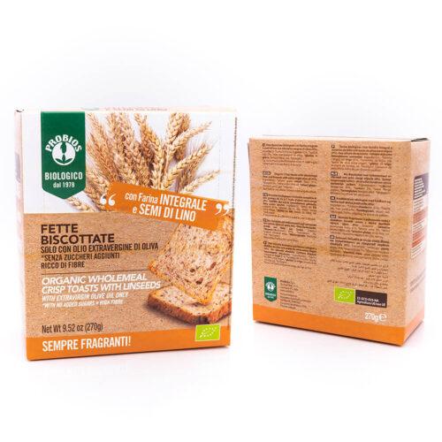 Fette biscottate biologiche - Integrali con semi di lino - Probios