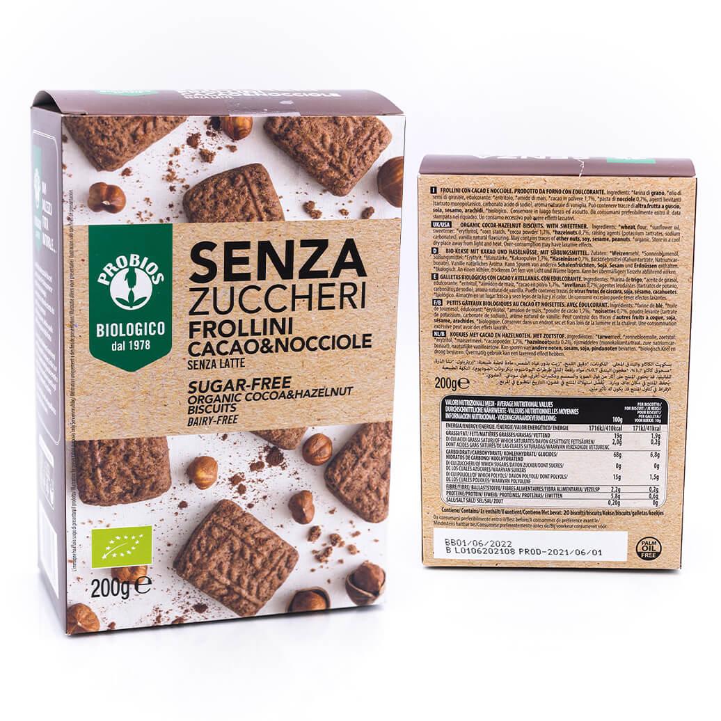 Frollini cacao e nocciole - Senza zucchero e latte - Probios+