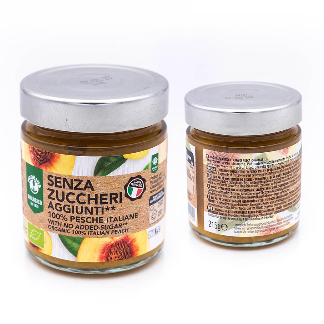 Marmellata biologica di pesche italiane - Senza zuccheri - Probios