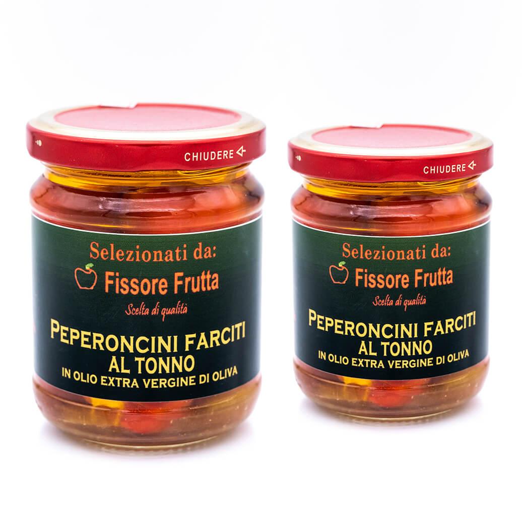 Peperoncini farciti con tonno in olio extra vergine di oliva - Fissore Frutta Doppio