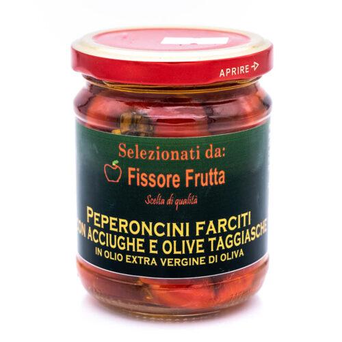 Peperoncini sott'olio farciti con acciughe e olive taggiasche - Fissore Frutta